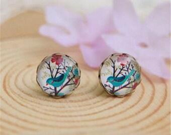 Vintage style blue bird flower earring studs