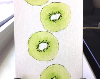 Kiwi Watercolor Painting