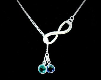 Birthstone Necklace, Mother Necklace, Wife Necklace, Infinity, Personalized, Grandmother Necklace, Gift For Her, Lariat Necklace