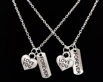 2 Necklaces Love You Forever Valentine's Day Gift Wife Girlfriend Boyfriend Couple's His And Hers Sisters Set