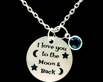 I Love You To The Moon & Back Personalized Birthstone Mother Necklace