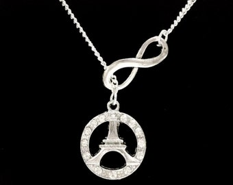 Infinity Crystal Eiffel Tower Forever Paris Y Lariat Necklace