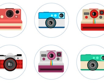 Retro Camera Edible Cupcake Topper Decorations - Set of 12 Toppers