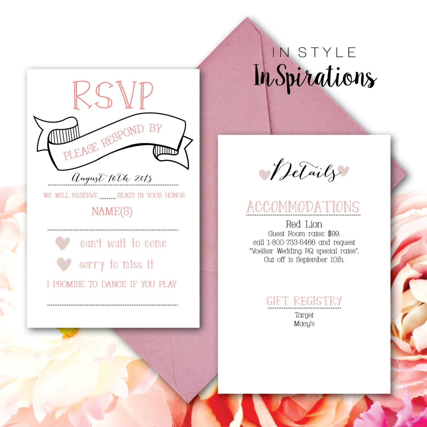 Personalized digital file wedding rsvp and details for Digital wedding invitations with rsvp