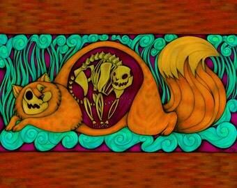 Fine Art Print Schrodinger's Cat Quantum Physics Fantasy Painting 8X10 Print