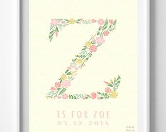 Monogram Art, Typography Art, Typographic Print, Alphabet Print, Zada, Zafirah, Zahavah, Zaida, Zaina, Zainabu, Initial, Valentines Day Gift