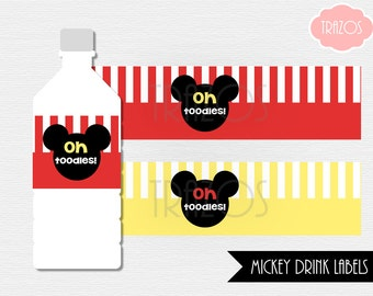 Mickey Water Labels - Printable Drink Labels  (INSTANT DOWNLOAD)