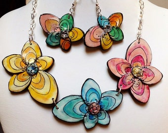 """MAKE TO ORDER - Polymer clay, parure, """"Butterflowers"""" necklace, unique, handmade"""