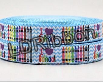 "7/8"" I Love School Grosgrain Ribbon"