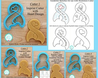Awareness Ribbon Cookie Cutter and Fondant Cutter - Four Designs - ** Guideline Sketches to Print Below**