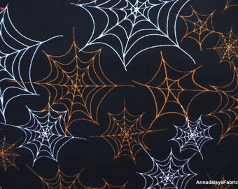 Spider Web Fabric, Boppity Boo 24691 Red Rooster Fabrics, Halloween Quilt Fabric, Orange & White Spiderwebs on Black, Kelly Mueller, Cotton