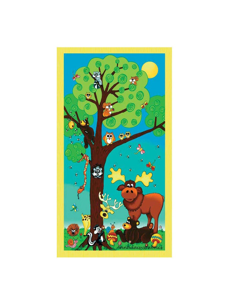 Woodland Animal Fabric Panel Forest Friend 25254 Red Rooster