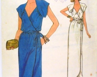 1980s Dress Very Easy Very Vogue Patterns 7383 Size 10 Vintage Sewing Pattern Straight Maxi Midi Wrapped Tulip Hemline Casual Evening UNCUT