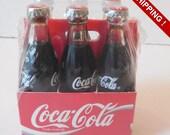 RARE Mini 6 pack of Glass Coke Bottles Never Opened Still Shrink Wrapped