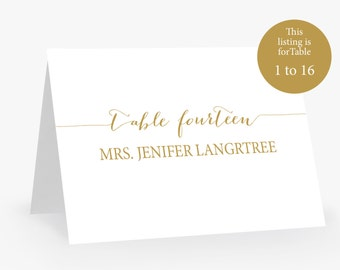 Wedding Escort Place Card Template | Instant Download | DIY | Callygraphy gold