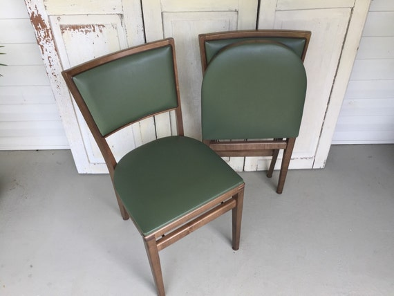 vintage stakmore folding chairs mid century modern style set