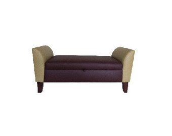 Faux Leather Storage Tufted Ottoman upholstered bench (burgandy-beige)