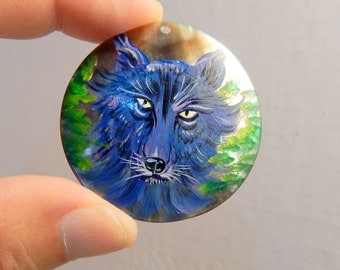 """Large 1 7/8"""" Hand Painted Wolf on Sea Shell Pendant Jewelry Necklace DIY Drilled Craft Supplies Occult Magic"""