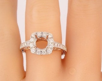 14K White and Rose Gold Cushion Cut Halo Engagement Ring, Wedding Ring, Promise Ring, Anniversary Ring, and Halo Ring - SJ2100RW