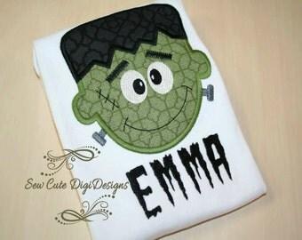 Cute Halloween Frankenstein Applique Design