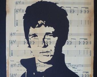 Oasis, Noel Gallagher portrait, papercut artwork, on Champagne Supernova sheetmusic, sheetmusic art, music art, papercraft, Oasis prints