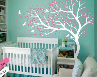 White Tree Wall Decal Wall Art Decor Wall Tattoo Tree Decal Huge Tree wall decal Wall Mural Stickers Nursery Tree and Birds - 098