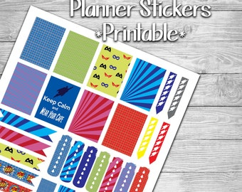 Super Hero Themed Planner Stickers- Printable- Digital File