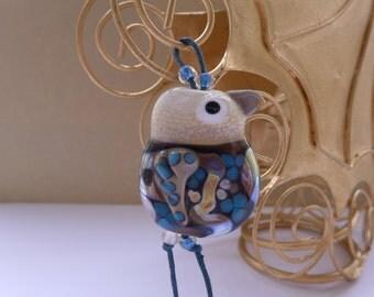 Bird focal lampwork bead - Henry