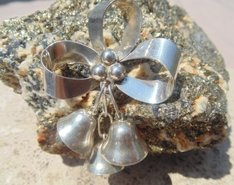 Mexican Sterling Silver Ribbon with Berries and Bells that Ring