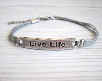 Men's Bracelet - Men's Quote Bracelet - Men's Gray Bracelet - Mens Jewelry - Bracelets For Men - Jewelry For Men - Gift for Him