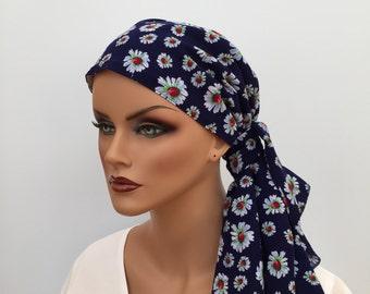 Jessica Pre-Tied Head Scarf, Women's Cancer Headwear, Chemo Scarf, Alopecia Hat, Head Wrap, Head Cover for Hair Loss - Blue Daisies