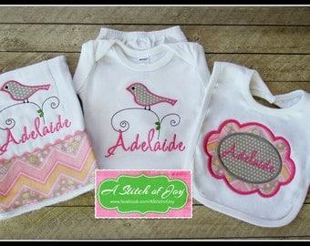 Personalized Baby Burp Cloth, Bodysuit and Bib - Bird on Branch Set, Baby Shower Gift
