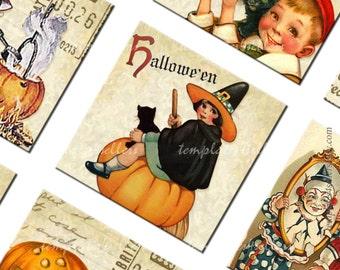 Digital Collage Sheet  Vintage Halloween 1x1 inch square images Scrapbooking Pendants Printable Original  Printable 4x6 inch sheet 200