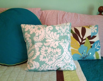 Turquoise Patterned Throw Pillow
