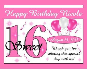 15 ~ SWEET SIXTEEN 16 Birthday Party Favors Personalized Magnets~ Free Shipping