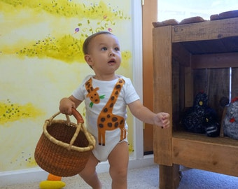Baby Girl & Boy Giraffe Onesie Bodysuit Zoo Animal Safari