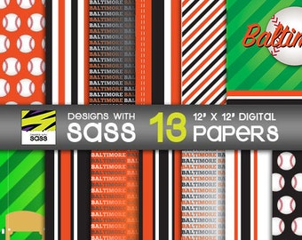 Digital Paper, Baltimore Baseball, Jamberry, Black, Orange, Commercial Use, Scrapbook Paper, Baseball, Paper Craft, background, pattern