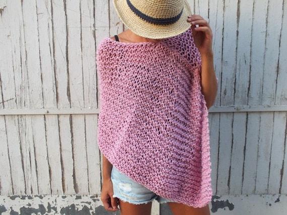 rose handknit poncho laine poncho femme poncho poncho tricot