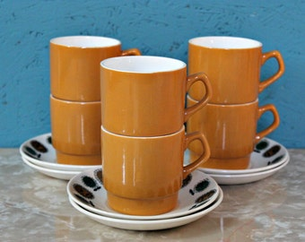 Set of Six Biltons Staffordshire Retro Cups & Saucers