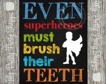 Printable 8x10 Superhero Teeth Brush Bathroom Sign / Wall Art *INSTANT DOWNLOAD*