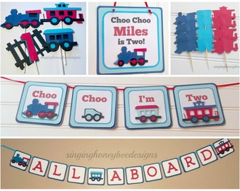 Train Birthday party package, Train party Decorations, Choo Choo I'm Two decor, Train baby shower, Train I am One, Train All Aboard banner