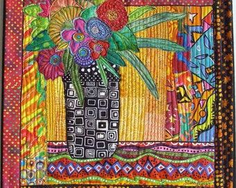 Floral Vase Art Quilt, Fiber Art Collage, Whimsical Art, Quilted Wall Hanging, Still life, Window Blooms