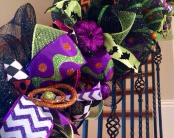 Deluxe Halloween Garland - Halloween Decoration - Mesh Garland - Whimsical Garland - Black and Lime Garland