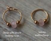 Rose quartz and Gold silver Cartilage Hoop Earring Septum Tragus Nose Ring Upper Ear Piercing 20 Gauge