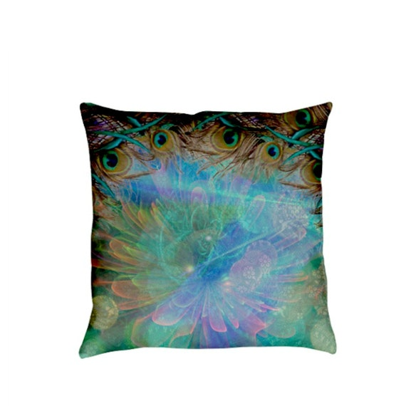 Items similar to Peacock Pillow Decorative Throw Pillows Turquoise Aqua Abstract on Etsy