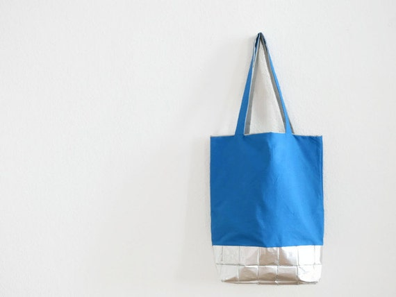 Blue Bag with silver bottom.grey.recycling.Shopping Bag.2 straps ...