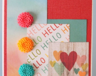 Hello with Epoxy Flowers Greeting Card