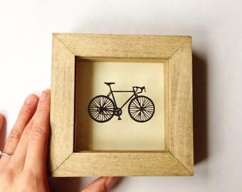 Mini Handcut Papercut Floating Bike in box frame