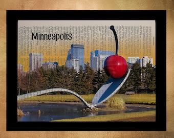 Minneapolis Dictionary Art Print Twin Cities Cherry Skyline Minnesota Wall Art Gift Ideas Home Decor da883