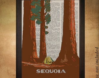 Vintage travel poster of Sequoia National Park printed on upcycled dictionary, California Wall Art Decor da919